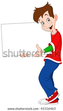 Smiley teenager holding a blank sign - stock vector