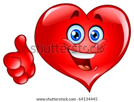 Smiley thumb up heart - stock vector