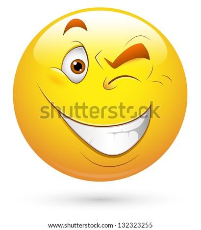 Smiley Vector Illustration - Eye Blinking - stock vector