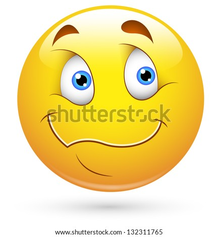 Smiley Vector Illustration - Wondering Face - stock vector