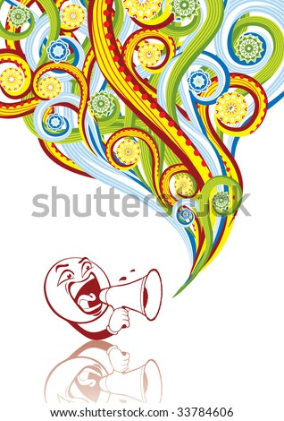 Smiley with megaphone in abstract collage. Format A4. Vector illustration. Isolated groups and layers. Global colors. - stock vector