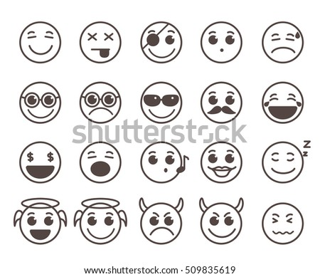 Smileys faces flat line vector icons set with funny facial expressions in black circle isolated in white background. Vector illustration.