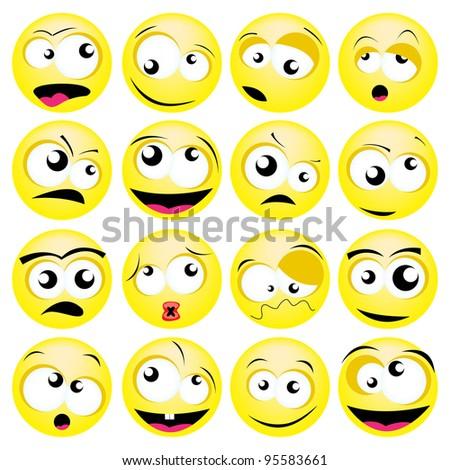 smileys set - stock vector