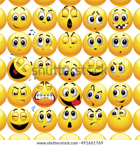 Smileys with different face expression stuck with each other in a group.