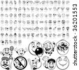 Smilies set of black sketch. Part 2. Isolated groups and layers. - stock vector