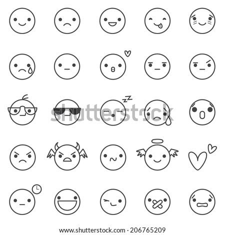 smilies vector icons - stock vector