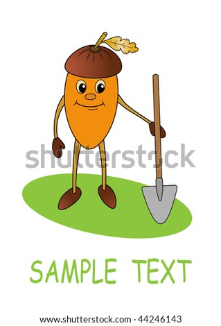Smiling acorn with shovel, vector illustration for garden worker design - stock vector