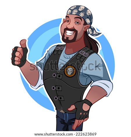 Smiling African American man in a bandana and a leather vest. Rocker. Vector clip-art illustration on a white background. - stock vector
