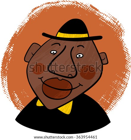 Smiling african american man with a black hat on his head on textured background. Vector. - stock vector