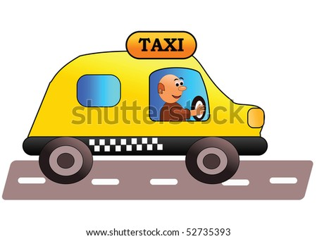 Smiling and friendly taxi driver - vector illustration.