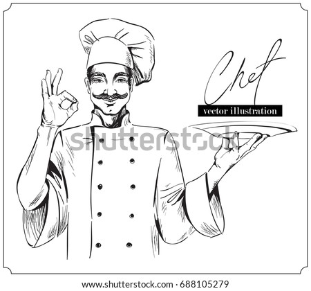 Smiling and happy chef with plate. Vector hand drawn illustration on white background.