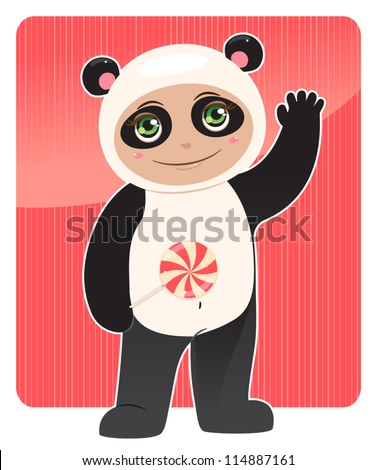 smiling baby in panda costume with a lollipop in his hand. vector illustration - stock vector