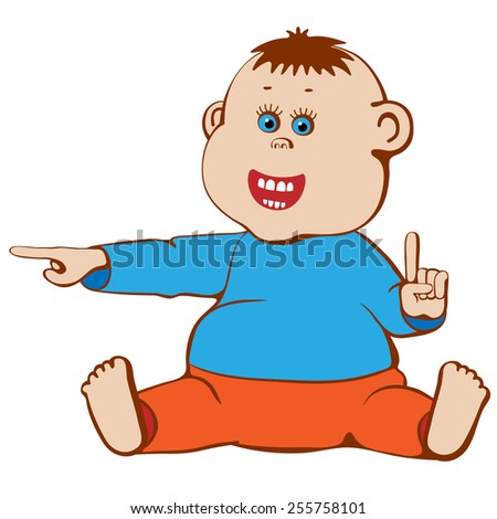 Smiling baby showing fingers sideways and upwards. - stock vector