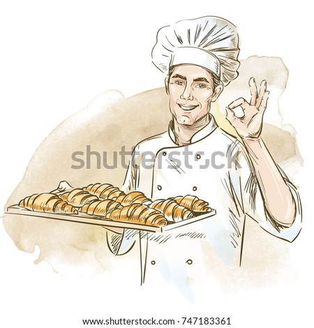 Smiling baker holding plate with croissants. Hand drawn vector illustration on artistic watercolor background.
