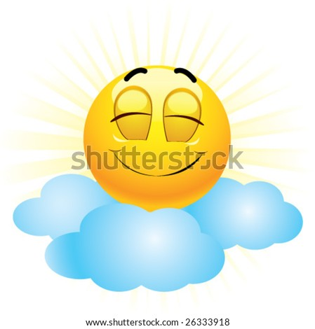 Smiling ball being on seventh heaven - stock vector