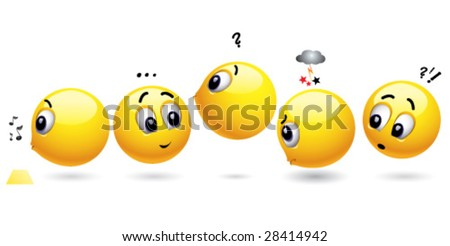 Smiling balls waiting in a row - stock vector