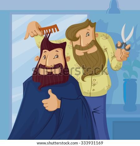 smiling barber cutting hair of a bearded man, vector cartoon - stock vector
