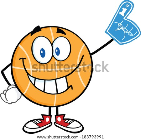 Smiling Basketball Cartoon Character With Foam Finger. Vector Illustration Isolated on white - stock vector