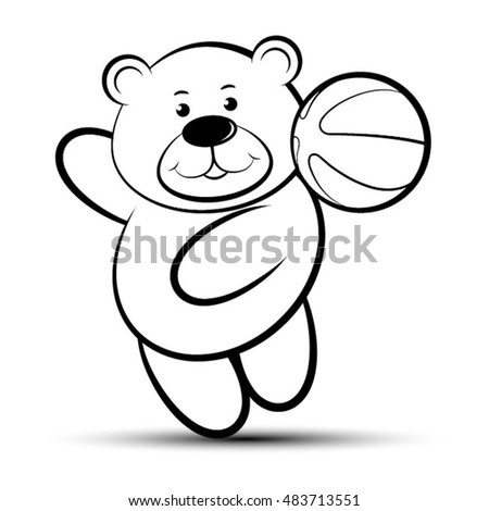 smiling bear playing with basket ball in black & white-vector drawing
