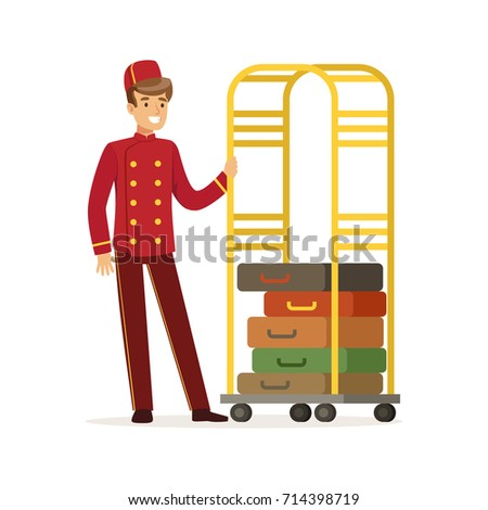 Smiling Bellhop Character Wearing Red Double Breasted Uniform With Luggage Cart Hotel Staff Vector Illustration