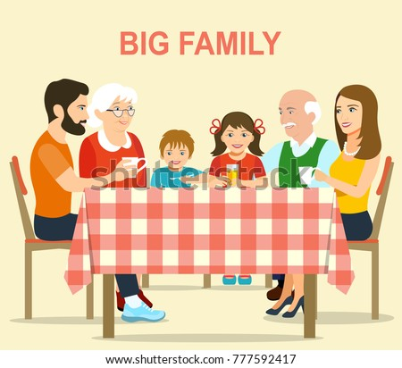 Smiling Big Family Sitting At The Dinner Table In Kitchen With A Checkered  Tablecloth. Vector