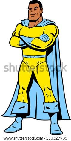 Smiling Black Classic Superhero in Heroic Pose - stock vector