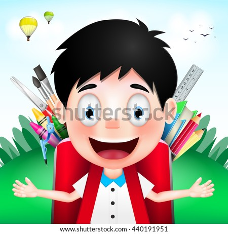 Smiling Boy Student Character Wearing Red Backpack full of School Supplies on A Cloudy Day. Vector Illustration  - stock vector