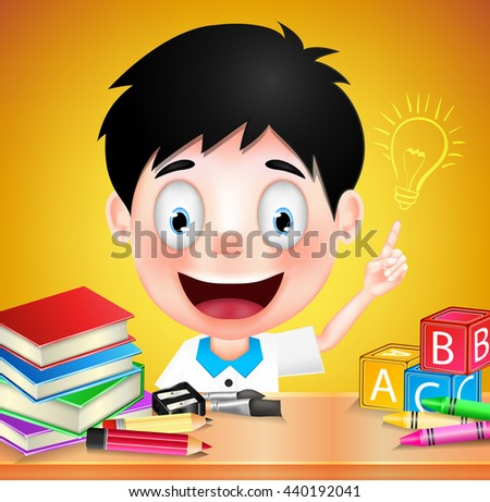 Smiling Boy Student Character with Idea on Orange Background. Vector Illustration  - stock vector