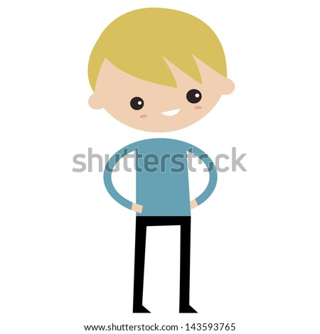 Smiling boy wearing blue sweater - stock vector