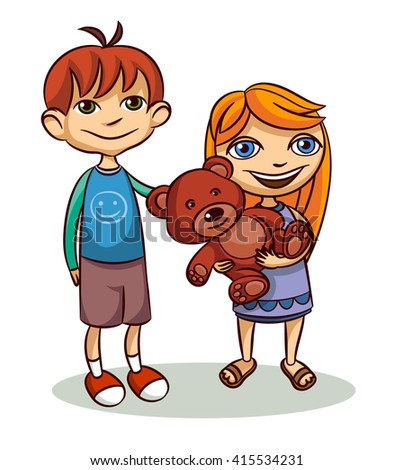 Smiling brother and sister - stock vector