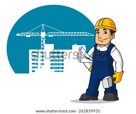 Smiling builder in cartoon style for design of construction buildings - stock vector
