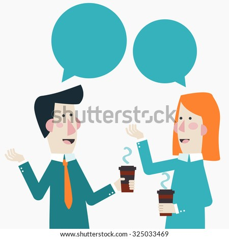 Smiling business colleagues drinking coffee and talking. Coffee time, break and relaxation vector concept. Modern design style - stock vector