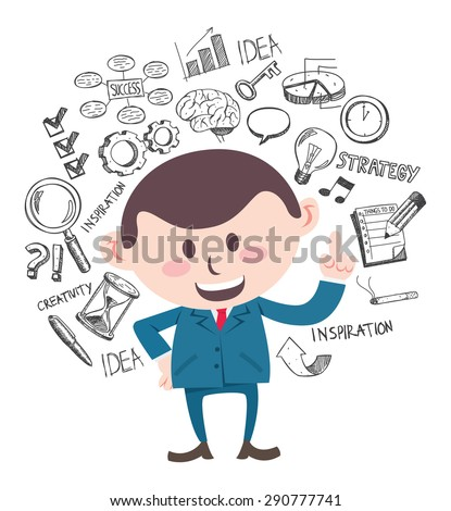smiling business man with doodle - stock vector