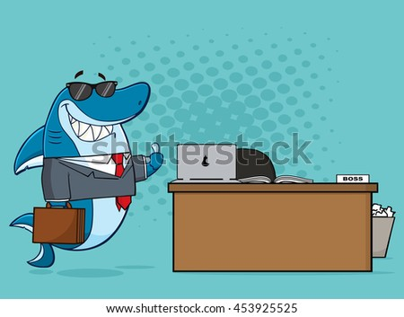 Smiling Business Shark Cartoon Mascot Character Holding A Thumb Up By An Office Desk. Vector Illustration With Blue Halftone Background