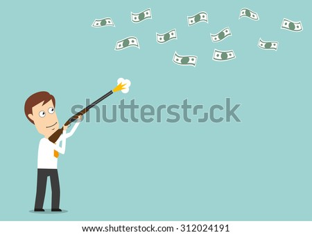 Smiling businessman hunts for flying dollar bills with hunting gun, for financial investment design. Cartoon flat style - stock vector