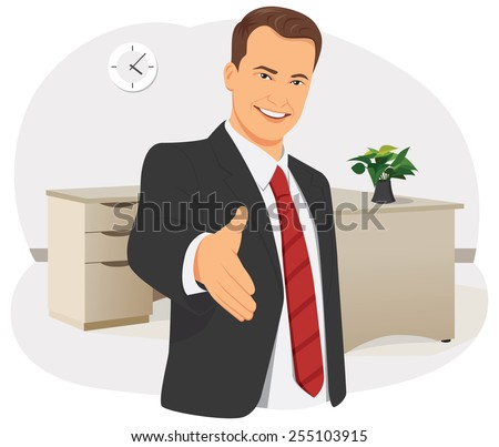 Smiling businessman is giving the hand for handshake - stock vector