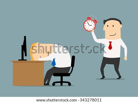 Smiling businessman or manager sneaks to sleeping colleague to wake with alarm clock, for overworked or joke concept. Flat style - stock vector