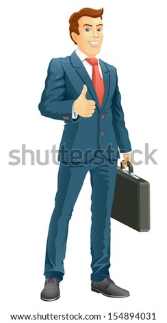 Smiling businessman shows the thumb up.  Vector illustration. - stock vector