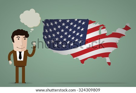 smiling businessman shows up on the flag of the country - stock vector