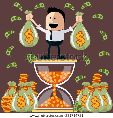 Smiling businessman standing on the hourglass in which coin holding bags of money. Winnings in lottery. Flying around dollar notes cartoon flat design style - stock vector