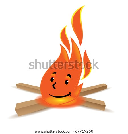 smiling camp fire with some wood isolated