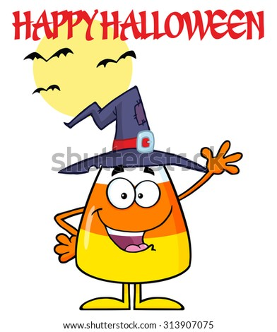 Smiling Candy Corn Cartoon Character With A Witch Hat Waving. Vector Illustration Isolated On White With Text - stock vector