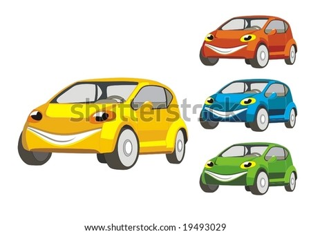 smiling car - stock vector