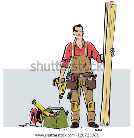 Smiling carpenter, ready to work. The grey box that works as a background can easily be removed so the illustration can work in a different layout. - stock vector