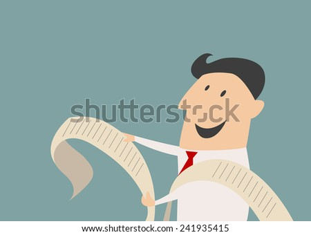 Smiling cartoon businessman character reading a long report with a happy face, flat style - stock vector