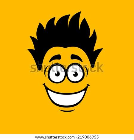 Smiling Cartoon Face on Orange Background. Vector illustration - stock vector