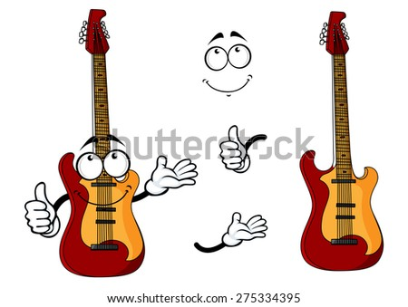 Smiling cartoon guitar character with waving arms with a second plain variant with no face and separate elements, for any musical or entertainment design - stock vector