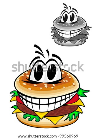 Smiling cartoon hamburger isolated on white background for fast food design, such  a logo. Jpeg version also available in gallery - stock vector