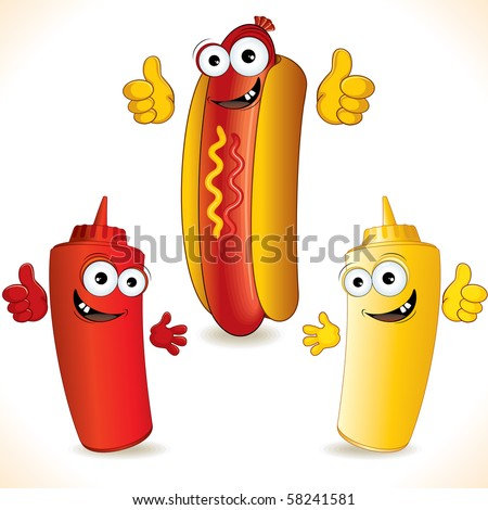 Smiling cartoon Hot dog with Funny friends - vector clip art - stock vector