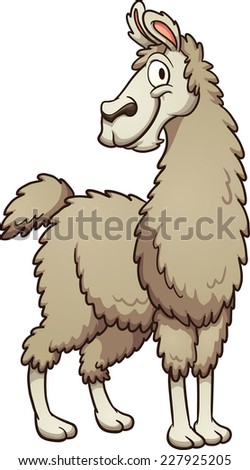 Smiling cartoon llama. Vector clip art illustration with simple gradients. All in a single layer. - stock vector